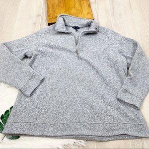 Lands End Gray Knit Half Zip Pullover Sweatshirt